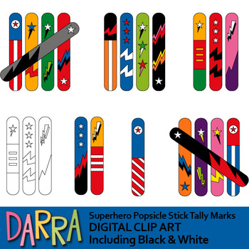 Tally Marks Clip Art (Superhero popsicle stick tally mark clipart)