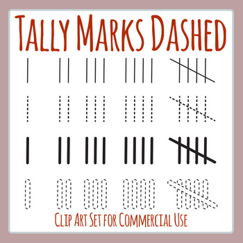 tally marks dashed thick and thin clip art set for commercial use