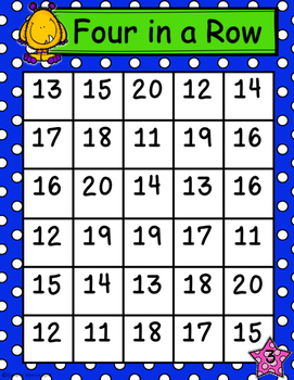 Tally Marks Four-in-a-Row Game (Numbers 11-20) Math Center