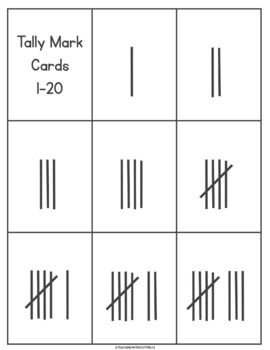 {Numbers 1-20} Tally Marks Matching Cards or Concentration Game for Math Centers