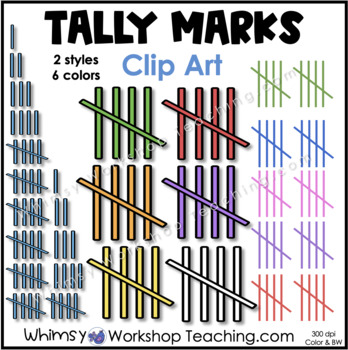 Tally Marks Math Helper Clip Art - Whimsy Workshop Teaching