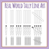 Tally Marks - Real World in Black and White Clip Art Set for Commercial Use