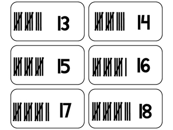Tally Marks printable Flashcards. Math flashcards.