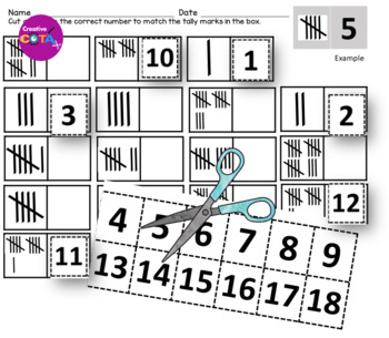 Tally Marks set: Clip Cards 1-50, cut and paste and fill in worksheets
