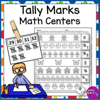 Tally Marks set: Clip Cards 1-50, cut and paste and fill i