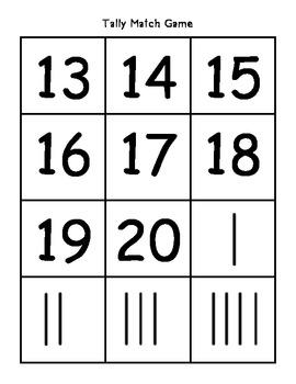 Tally Match Game EDM First Grade