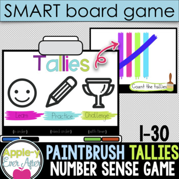 Tally Paint Fun - 1-30 Tallies Practice SMART board and Projector Game