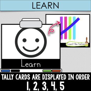 Tally Paint Fun - 1-20 Tallies Practice SMART board and Projector Game