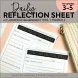 Daily Behavior Reflection Sheet | Behavior Management | Behavior Tool