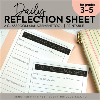 behavior reflection sheet behavior management daily behavior tool