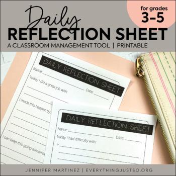 Behavior Reflection Sheet | Behavior Management | Daily Behavior Tool