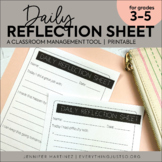 Behavior Reflection Sheet | Behavior Management | Daily Be