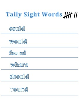 Tally Sight Words with dice