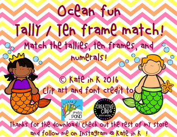 Tally / Ten frame matching math center!