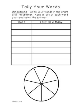 Tally Your Words: Spelling/Sight Word and Math Activity