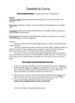 Movie Guide: Tambien la Lluvia (Even the Rain) Lesson Plan