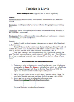 Movie Guide:Tambien la Lluvia (Even the Rain) worksheet and lesson plan