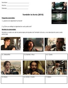 También la lluvia Preguntas | Even the Rain Movie Guide Questions in SPANISH