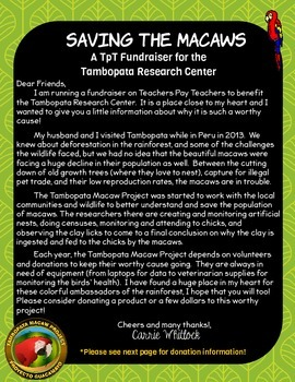 Tambopata Macaw Project Fund Raiser Explanation