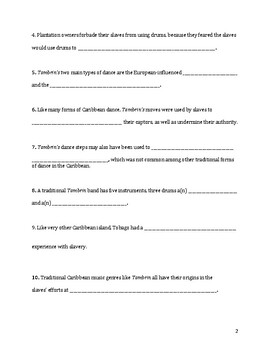 Tambrin, the Music of Tobago – Fill in the Blanks (F.I.B.S.) Worksheet