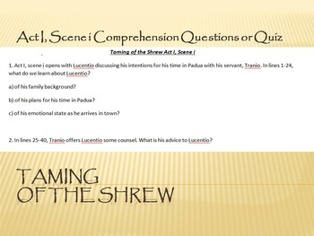 Taming of the Shrew Act I, Scene i Comprehension Questions or Quiz