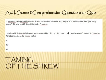 Taming of the Shrew Act I, Scene ii Comprehension Questions or Quiz