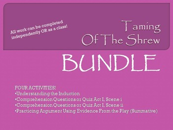 Taming of the Shrew Induction and Act I Bundle