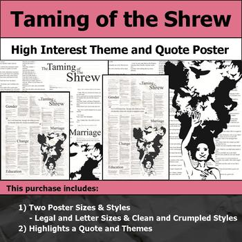 Taming of the Shrew - Visual Theme and Quote Poster for Bulletin Boards
