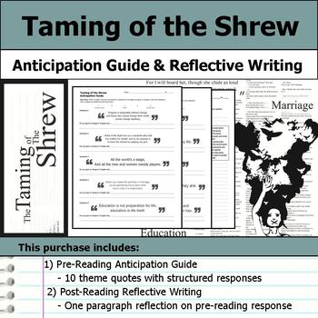 Taming of the Shrew by William Shakespeare - Anticipation Guide & Reflection