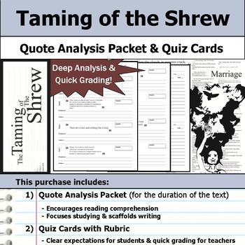 Taming of the Shrew by William Shakespeare - Quote Analysis & Reading Quizzes