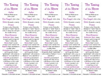 Taming of the Shrew ed. of Bookmarks Plus—Fun Freebie/Handy Reading Aid!