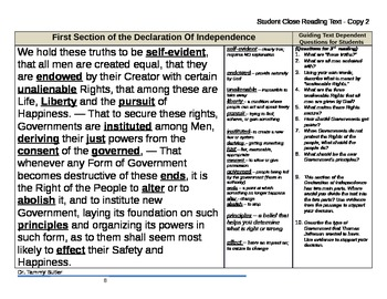 Close Reading Lesson Plan: Declaration of... by Tammy Butler ...