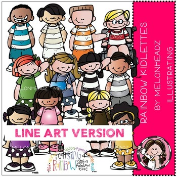 Tammy's rainbow kidlettes by Melonheadz LINE ART