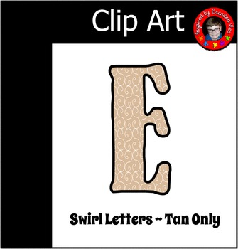 Tan Alphabet with Swirl background ~ Letter Clip Art ~ Commercially Friendly