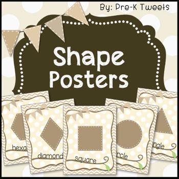 Tan Chevron Shape Posters