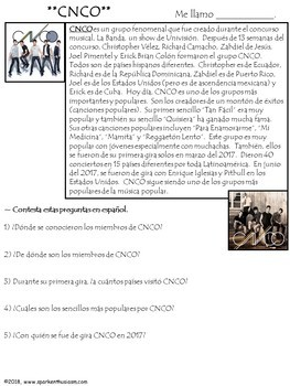 Tan Facil - Spanish Song Lyrics and Activities - CNCO