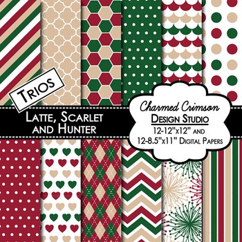 Tan, Red, and Hunter Green Trio Digital Paper 1362