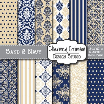 Tan and Navy Blue Damask Digital Paper 1402