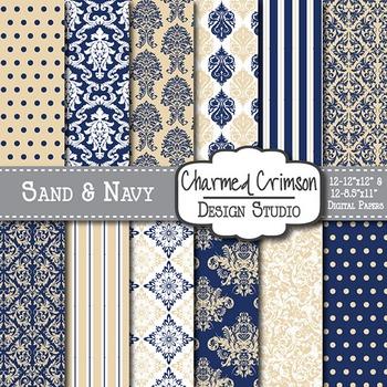 Tan and Navy Blue Damask Digital Paper 1402
