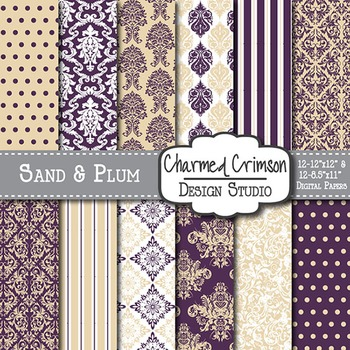 Tan and Purple Damask Digital Paper 1393