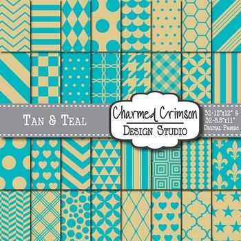 Tan and Teal Digital Paper 1356