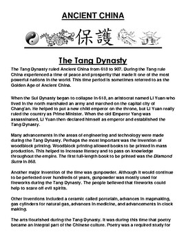 Tang Dynasty in ancient China Article and Assignment