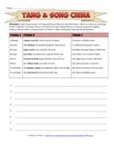 Tang and Song Dynasty China Sentence Review Worksheet
