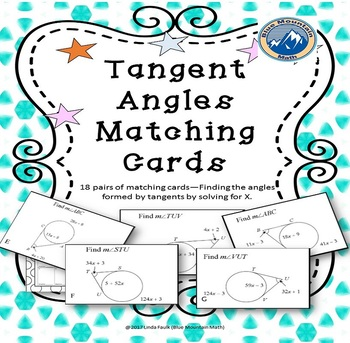 Tangent Angles: Find Measure by Solving for X  Matching Card Set