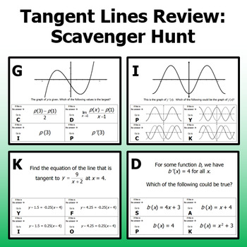 Tangent Lines Review - Scavenger Hunt