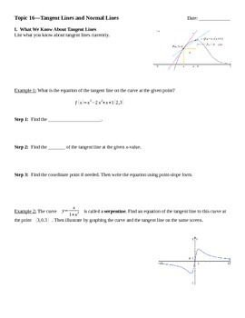 Tangent Lines and Normal Lines Notes