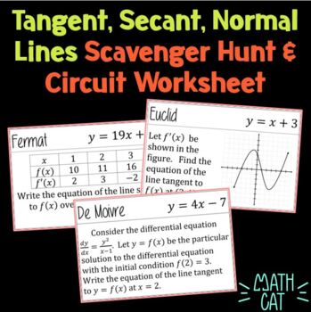 Tangent, Secant, and Normal Lines Scavenger Hunt