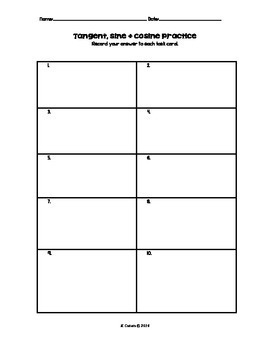 Tangent, Sine and Cosine Ratio Practice Task Cards