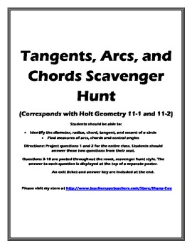 Tangents, Arcs, and Chords Scavenger Hunt