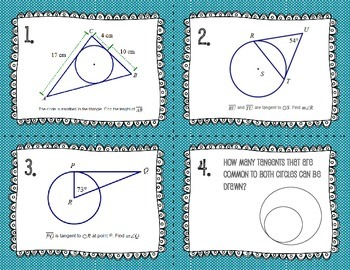 Tangents to Circles Task Cards